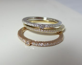 Diamond Stacking Rings| Eternity Stacking Rings| Tri-color 14K Gold| Diamonds| White Gold| Rose Gold| Yellow Gold