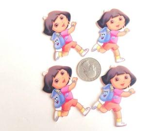 4 Dora The Explore Inspired Shrinky Dink, Hair Bow, Pendant