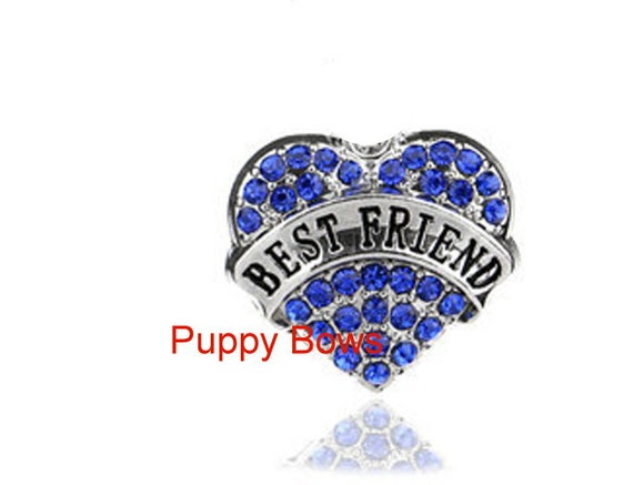 Puppy Bows ~BEST FRIEND rhinestone dog bow barrette pink or blue heart   ~USA seller