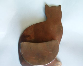 Vintage Copper Items / Copper Wall Hanging / Cat Decor / Copper Cat Wall Decor / Rustic Decor / Cat Items / Key Holder / Copper Decor