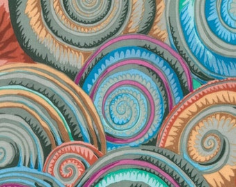 SPIRAL SHELLS SLUDGE PJ073 by Philip Jacobs for Kaffe Fassett Collective Sold in 1/2 yd increments