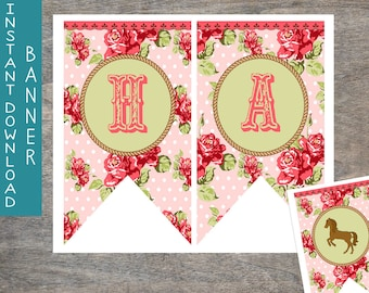 Cowgirl Happy Birthday Pennant Banner printable and digital file | Vintage Rose Pink Polka Dot  Rope Sage Birthday Party