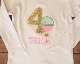 Mint Green, Light Pink, and Gold Hot Air Balloon Birthday Shirt or Baby Bodysuit