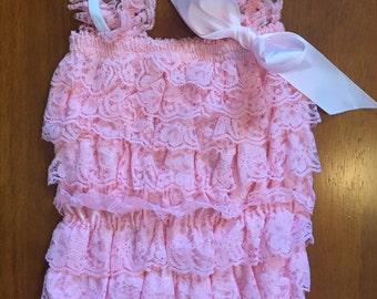 Light Pink Lace Petti Romper