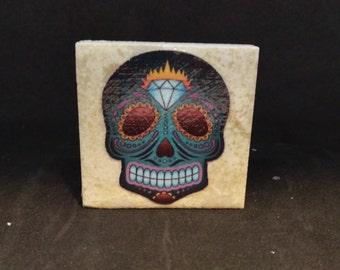 Sugar Skull (Style4) - Tile Magnets 1-3/4 x 1-3/4
