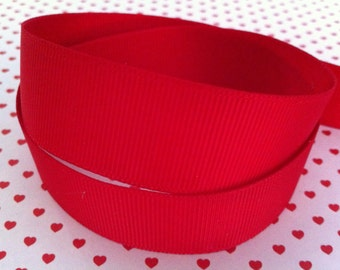 """5 Yards 1.5"""" Red Grosgrain Ribbon-Hair bow supply-Craft-Sewing-Supplies-School-Christmas-Super Hero-Party supply"""