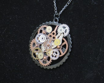 STEAMPUNK NECKLACE/ Gears/ Necklace/ Steampunk Jewelry/ Steampunk Wedding/ Victorian Steampunk/ Watch Gears