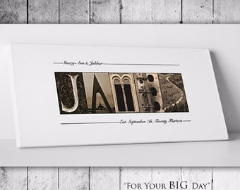 WEDDING GIFT PERSONALIZED - Family Name Sign, Alphabet Art Photos, Wall Decor - Gallery Wrapped Canvas