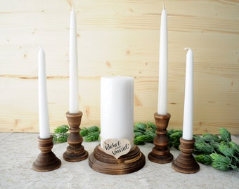 Family Unity Candle Set Rustic Wood Unity Candle Holder Set Wedding Family Unity Candle Family Unity Set Family Ceremony Parent Child Unity