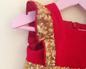 Girl's Flower Girl Dress, Baby Girl's Gold Sequin, Red Corduroy and Tulle Party Dress, baby Girl Dress, Sparkly Girl's Dress