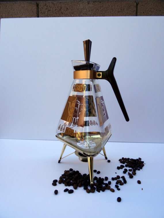 Vintage Inland Glass Co. Coffee Carafe and Warmer Retro