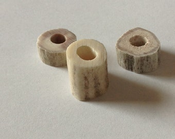 Rustic Deer Antler Celtic Viking Beard Bead Set Dread Bead Set Organic Natural Deer Antler Beads Large Hole