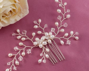 Lovely Delicate Pearl and Crystal Flower Spray Hair Comb Made with CRYSTALLIZED™ - Swarovski Elements