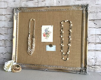 Large frame bulletin board - framed cork board - shabby chic decor - vintage frame