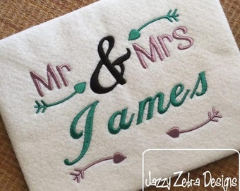 Mr and Mrs with Arrows Embroidery Design - wedding Embroidery Design - mr and mrs Embroidery Design - anniversary Embroidery Design