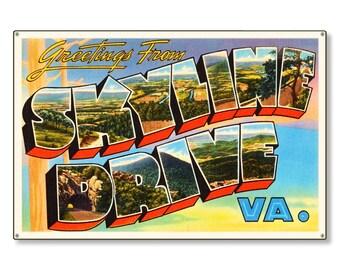 Skyline Drive Virginia va Old Retro Vintage Travel Postcard Reproduction Metal Sign Art Wall Decor STEEL not tin 36x24 FREE SHIPPING