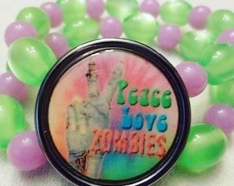 Zombie cameo beaded bracelet