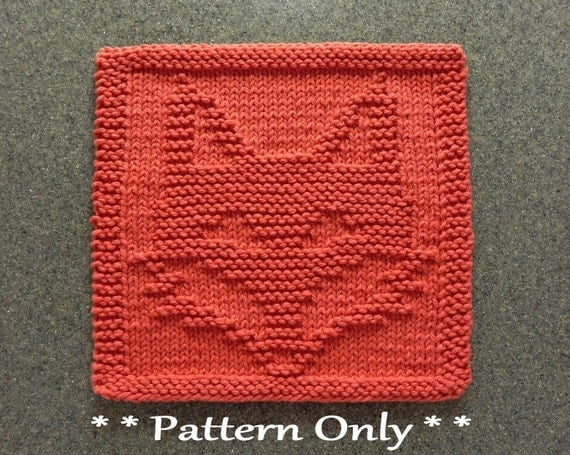 Free Knitted Quilt Block Patterns : Fox knit pattern for dishcloth or wash cloth quilt block