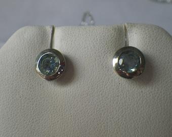 Sparkling Sterling Silver Blue CZ Stud Earrings