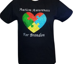 Personalized Glitter Puzzle Heart Autism Awareness Shirt