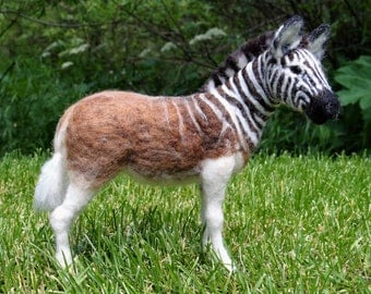 Quagga Zebra Needle Felted Wool Animal  by Carol Rossi Created Just For You!