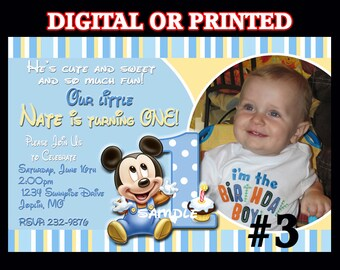 Baby Mickey Mouse 1st Birthday Invitation with Photo YOU Print Digital File or PRINTED First Birthday Party Invitation