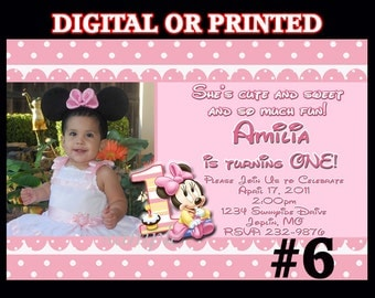 Minnie Mouse First Birthday invitation with photo, YOU Print Digital File or PRINTED, Baby Minnie Mouse 1st  Birthday, Printable invitation
