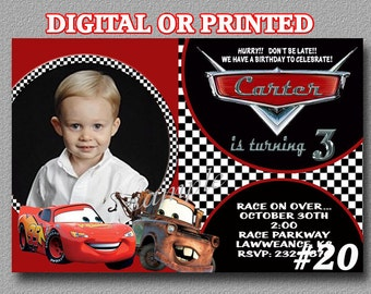 Disney Cars Birthday Party invitations  Digital file OR PRINTED Includes Envelopes  PHOTO
