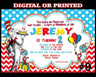 Cat in the Hat Invitations - YOU PRINT or  PRINTED -  Dr. Seuss cat in the hat birthday party / printable or digital