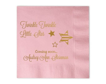 100 Personalized Napkins Baby Shower Twinkle Twinkle Little Star Foil Monogram Cocktail Beverage Luncheon Dinner Guest Towels Available!