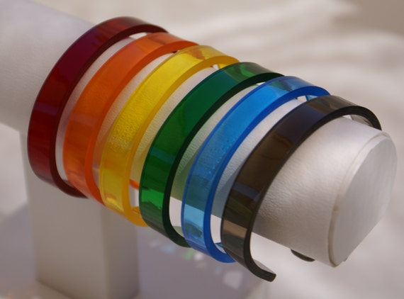 "LGBT ""Transparent Rainbow"" 6 Piece Cuff Bracelet Set. Easy Wearing - Rugged ""Plexiglass""! Custom Fit to Your Wrist Size. Vibrant Colors."