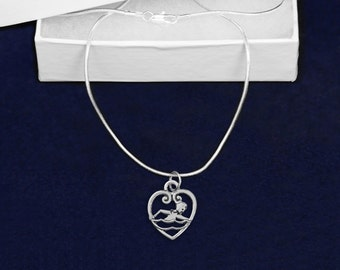 Wholesale Swimming Heart Necklaces (18 Necklaces) (N-02-SWI)