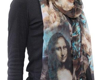 Mona Lisa Print Chiffon Scarf Summer Scarf