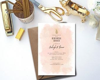 Whimsical Pineapple Watercolor Rehearsal Dinner Invitation // DIY PRINTABLE // Modern Wedding, Whimsical Wedding