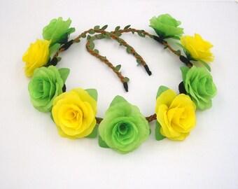 Flower Crown,Yellow Green Flower Crown,Rose Headband,Flower Headband,Rose Crown,Rose Hairband,Flower Head Band,Rose Halo,Boho  Hippie Crown