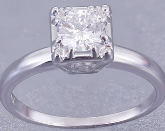 14k White Gold Round Cut Diamond Engagement Ring Art Deco Prong Antique 0.70ct