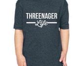 CLEARANCE!! Threenager Life T-Shirt, Threenager t-shirt, Three Year Old T-Shirt.