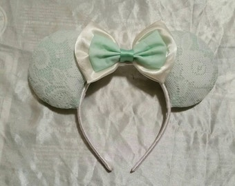 Mint and lace Disney inspired Mouse Ears