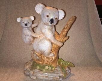 Vintage Ceramic Koala Bear with Baby Figurine