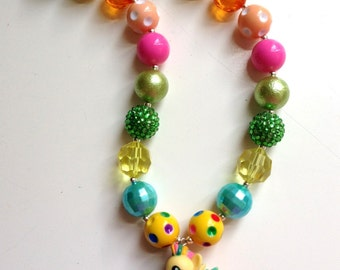 Magic Fluttershy My Little Pony Chunky Bubblegum Beaded Kids Necklace with Fob Clasp