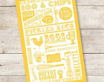 Enough's Un Ouef Egg themed Tea Towel screen printed onto 100% cotton