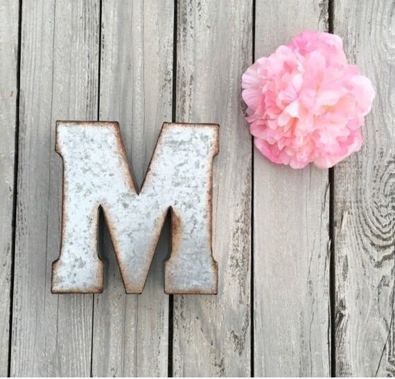 metal letter galvanized wall letter small by penelopemaydecor. Black Bedroom Furniture Sets. Home Design Ideas