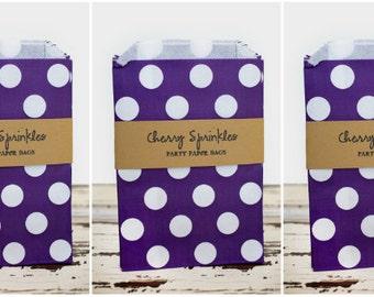 "5x7"" Purple Polkadot Sacks -paper sacks -Purple party decorations -Party Bags -Merchandise bag -Favor Bags -Candy Buffet -Goody bags"