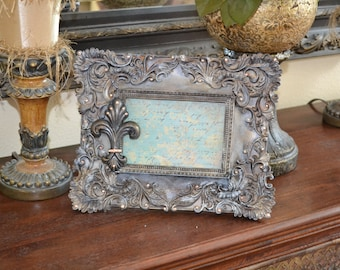 Embellished 4 X 6 Ornate Picture Frame w/Decorative Fleur de Lis and Swarovski Crystal Accents