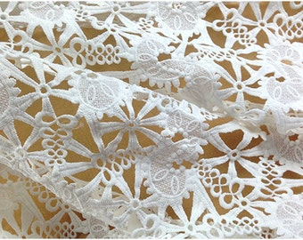 Crocheted Lace Fabric , White Retro Florals Fashion Fabrics Supplies,Wedding Lace Fbaric by yard
