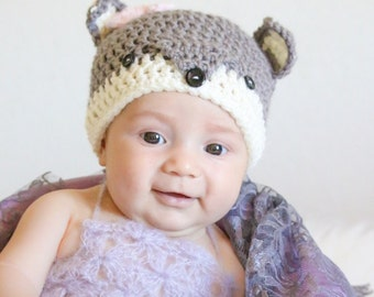 Crocheted fox beanie, crocheted baby hat, woodland animal hat, crocheted baby girl hat, fox hat, baby photo prop, baby gift, baby accessory,