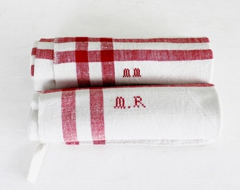 French linen torchon - French vintage, monogrammed torchon, Vintage tea towel, Antique linen, Linen tea towel, Red stripes, D182