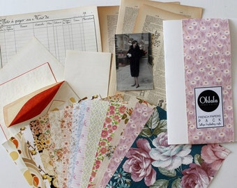 French papers Pack ( Wallpaper, Dictionary ) Sheets for Collage, Scrapbooking, and Crafts // C571