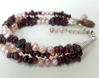 Garnet Gemstone and Pink Freshwater Pearl Multistrand Bracelet, Charm Bracelet, Adjustable Size 7 to 8 Inches