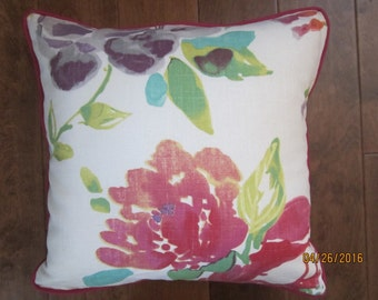 Watercolor floral throw pillows with contrast cording 16x16""
